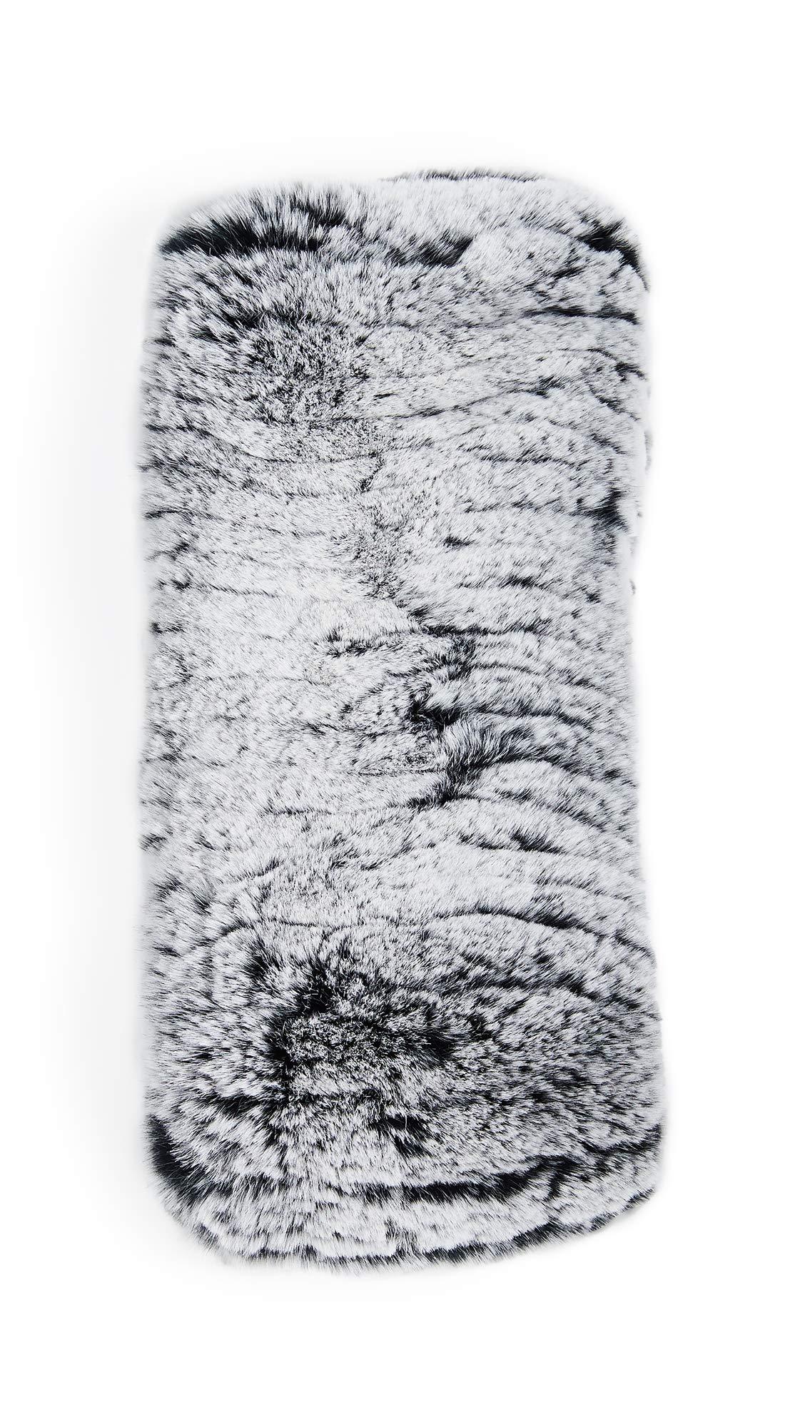 Adrienne Landau Women's Rex Rabbit & Acrylic Headband, Black/Snow, One Size by Adrienne Landau