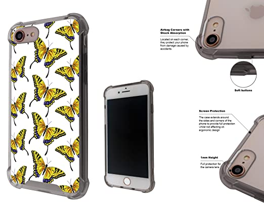 Amazon Com 001623 Collage Of Yellow Butterflies Wallpaper Iphone 7