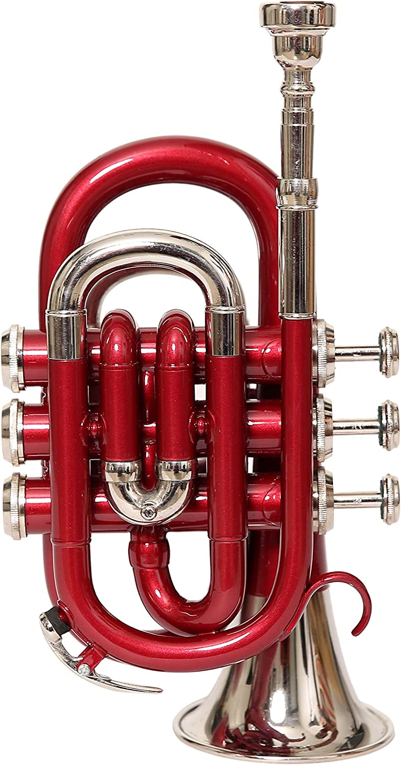 NASIR ALI POCKET TRUMPET Bb PITCH RED COLOR WITH HARD CASE AND MP
