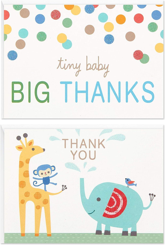 홀마크 베이비 샤워 감사 카드 구색 동물원 동물 (아기 소년 이나 아기 소녀를위한 봉투와 50 카드)