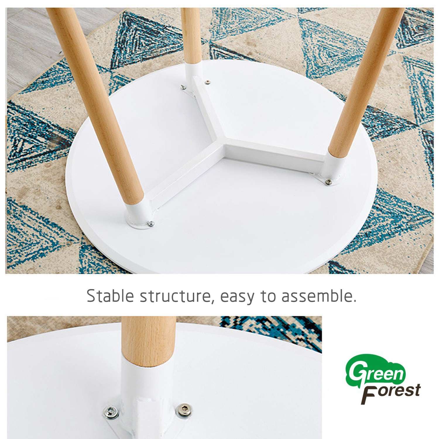 98cc56159db8 GreenForest Dining Table White Modern Round Table with Wood Legs for Kitchen  Living Room Leisure Coffee Table