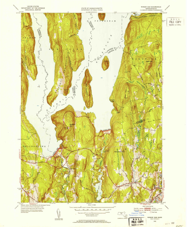Topographic Map Massachusetts.Amazon Com Yellowmaps Winsor Dam Ma Topo Map 1 31680 Scale 7 5 X