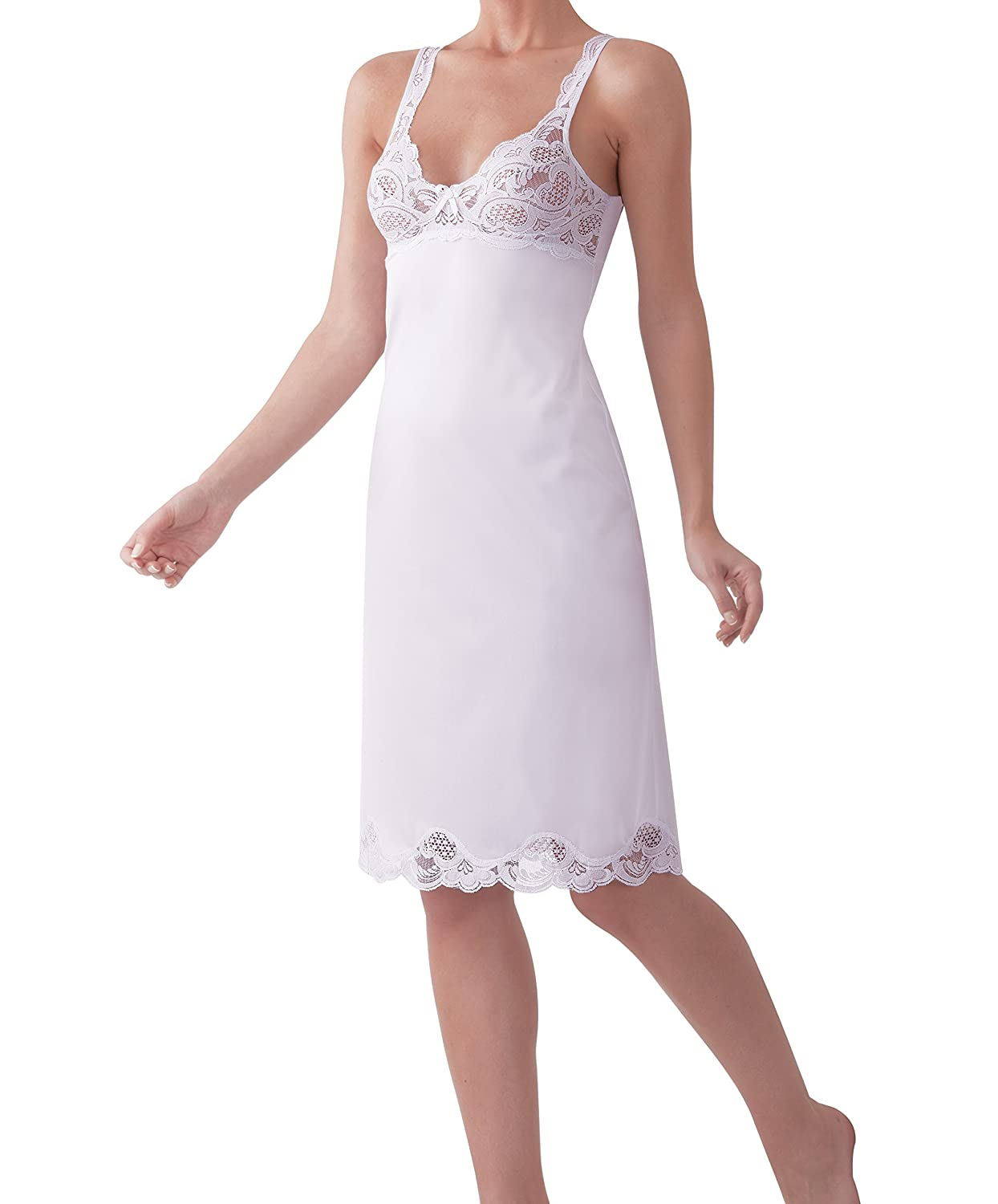 Under Moments Antistatic Vintage-style Full Slip w/ Elegant Lace Details UM2068