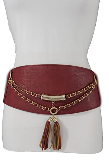 67c39a51b53 TFJ Women Elastic Fashion Corset Belt Extra Wide High Waist Faux Leather S M  Red
