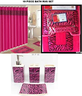 19 Piece Bath Accessory Set Pink Zebra Bathroom Rugs U0026 Shower Curtain U0026  Accessories