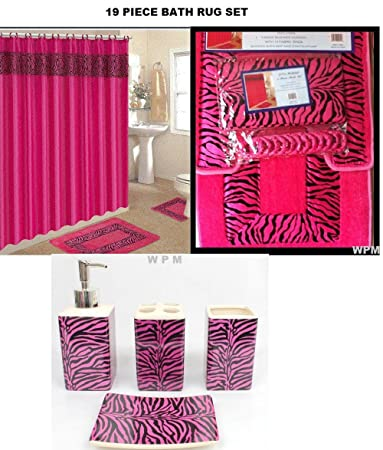 Amazon.com: 19 Piece Bath Accessory Set Pink Zebra Bathroom Rugs ...