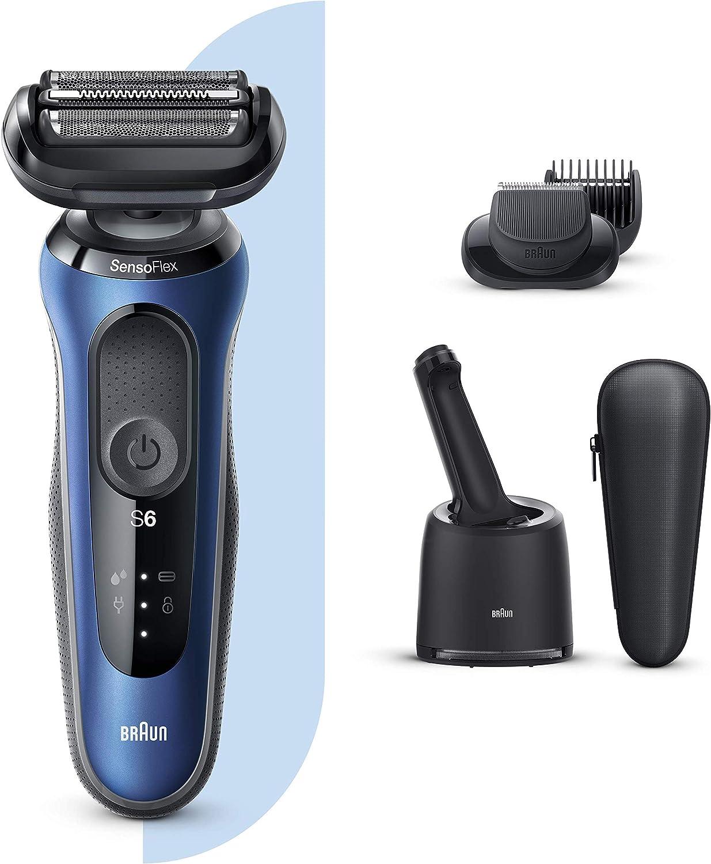 Braun Series 6 60-B7500cc Afeitadora Eléctrica, máquina de afeitar barba hombre de lámina, Con Centro De Limpieza SmartCare, Recortadora De Barba, Uso En Seco Y Mojado, Recargable, Inalámbrica, Azul: Amazon.es: Salud y