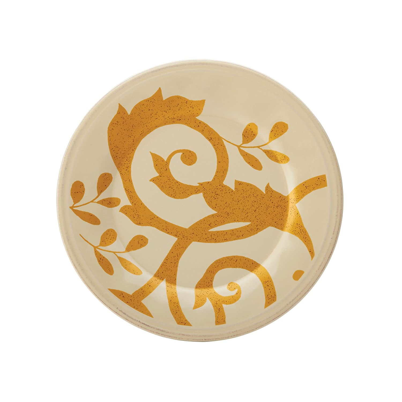 Rachael Ray Dinnerware Gold Scroll 8-Inch Salad Plate Almond Cream