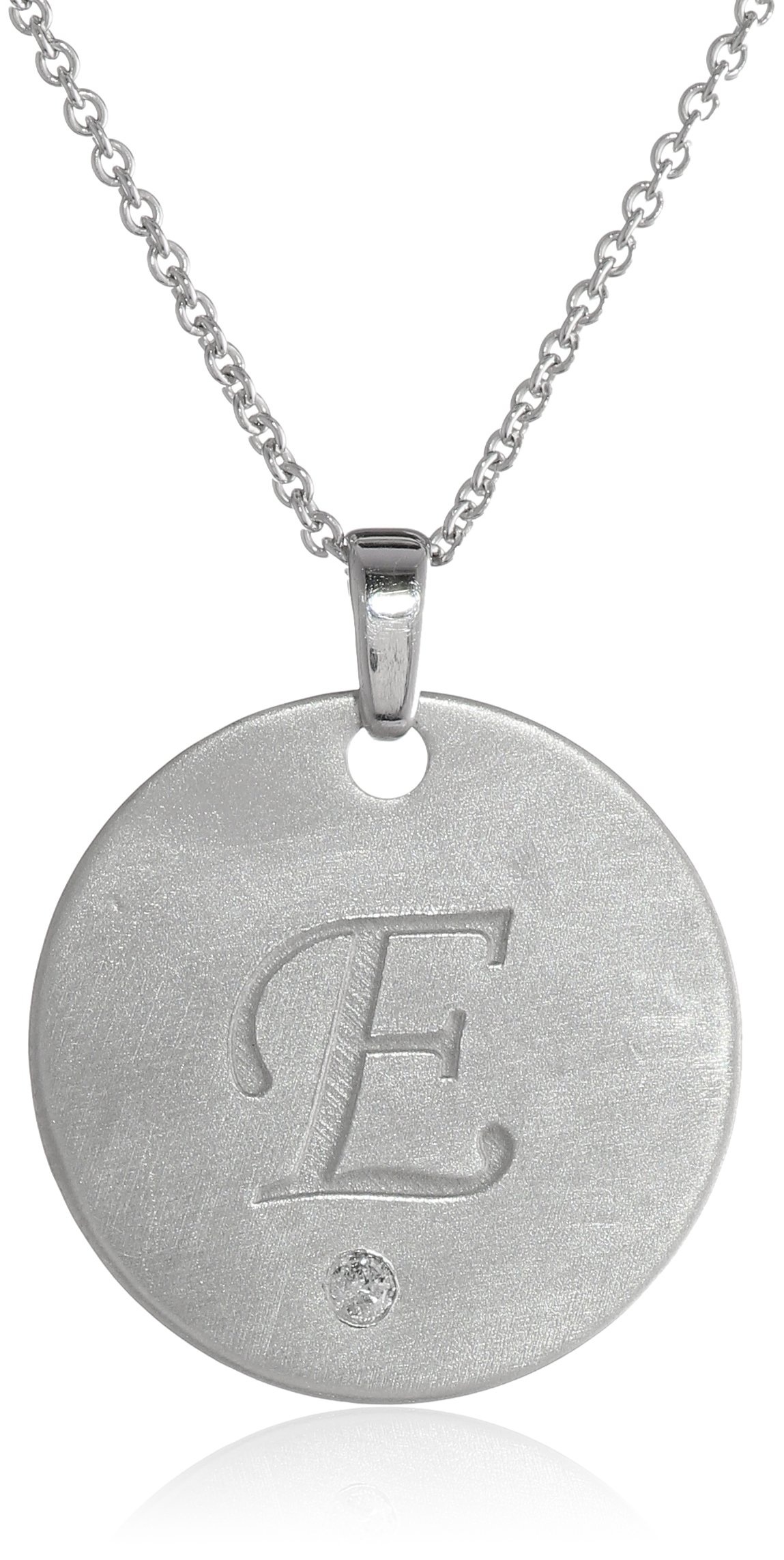 """Sterling Silver Diamond Accent 'E' Engraved Letter Pendant Necklace, 18"""""""