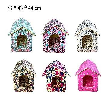Yommy Casa Acolchada Caseta Cama para Mascotas Perros Gatos Colores se envían al Azar 53 * 43 * 44 cm YM-1264 (L): Amazon.es: Hogar