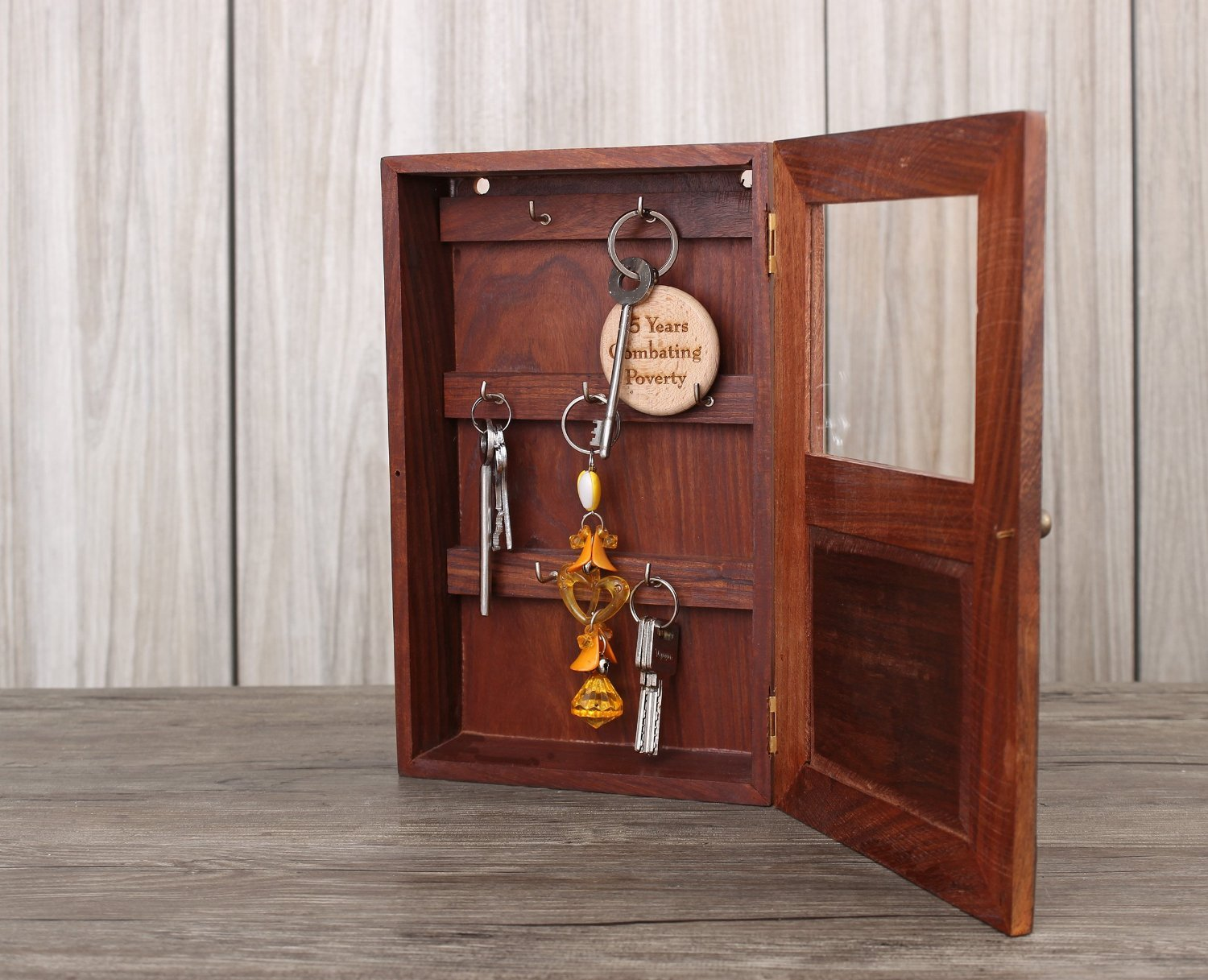 Attractive Amazon.com : Handmade Decorative Wooden Wall Mounted Key Cabinet With Glass  Panel Door U0026 Elephant Carvings : Office Products