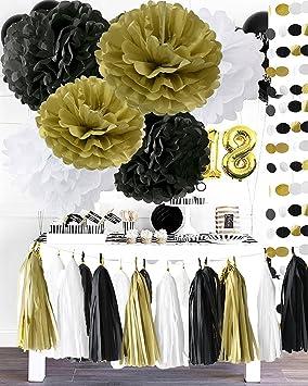 Furuix Noir Or Blanc Parti Décoration Kit Joyeux Nouvel An Décoration Gold Glitter Party Banner Papier Tissu Pom Pom Fleur Avec Papier Tassel