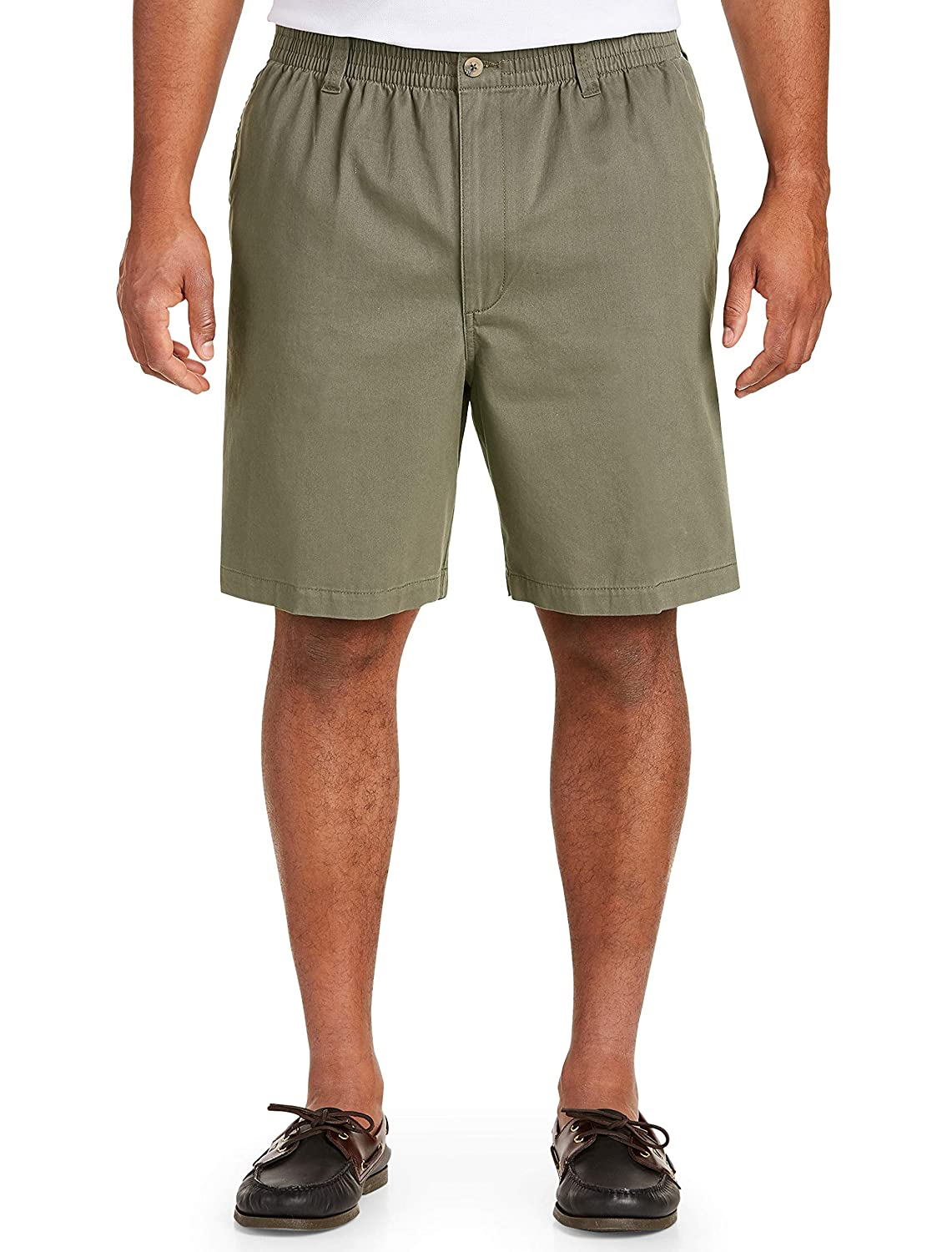 Harbor Bay by DXL Big and Tall Elastic-Waist Twill Shorts-Updated Fit Olive 3X-Tall