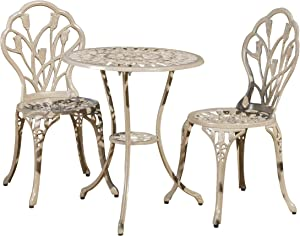 Christopher Knight Home 217184 Nassau Outdoor Vintage Style Cast Aluminum Bistro Set with Tulips, 3-Pcs, Sand