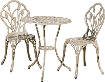 Christopher Knight Home 217184 Nassau Outdoor Vintage Style Cast Aluminum Bistro Set With Tulips 3 Pcs Sand Garden Outdoor