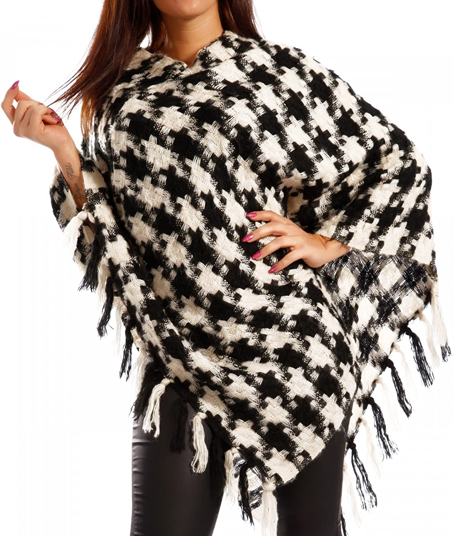 Young-Fashion Damen Poncho Umhang mit Hahnentritt-Muster und Fransen