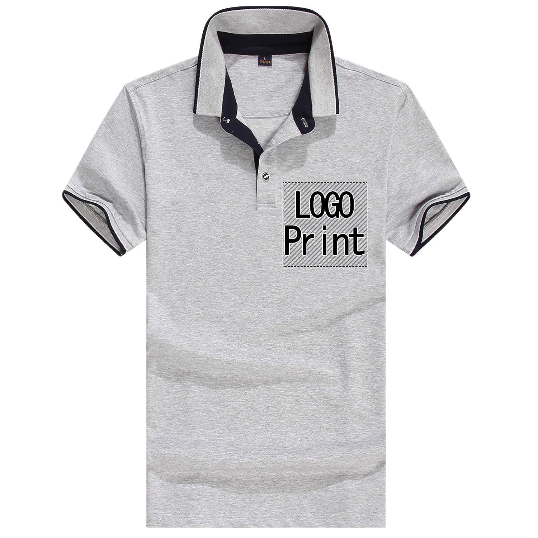 bf7b8e2f7 Amazon.com: Personalized Custom Polo Shirt Activity Tee Add Your Design  Collar T Shirt Unisex Grey (Grey L): Clothing