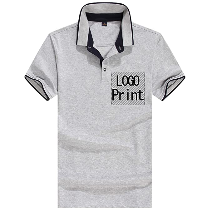 10d78afd6 Personalized Custom Polo Shirt Activity Tee Add Your Design Collar T Shirt  Unisex Grey (Grey