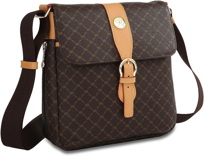 Signature Brown Top Buckle Messenger Bag by Rioni Designer Handbags