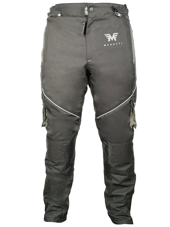 MARUTTI Herren Motorradhose Motorradschutz Cordura Textil Kleidung Protektor Schutz Motorrad Hose Schwarz Grau L