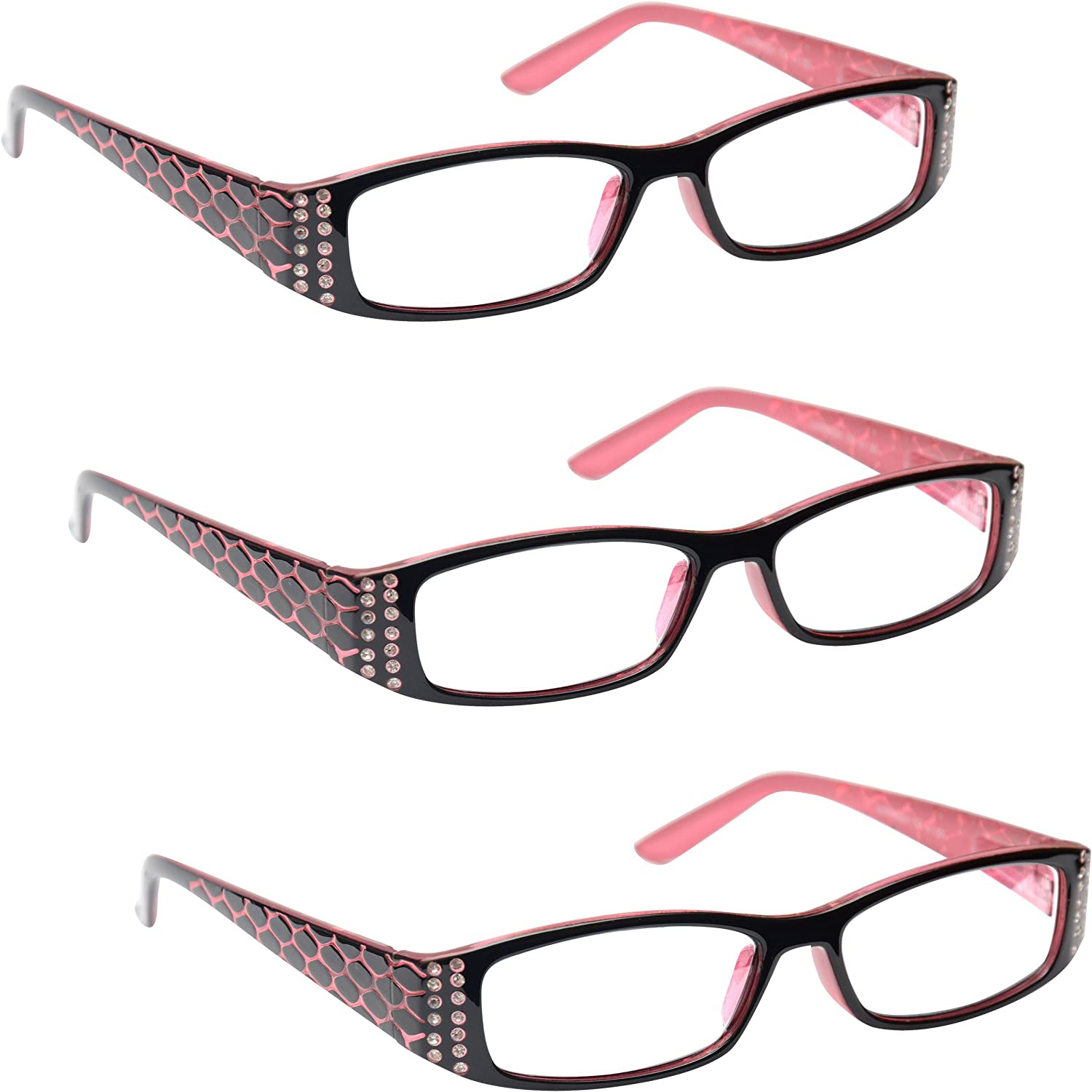 UV Reader Rosa Nero Occhiali Da Lettura Valore 3 Pacco Stile Designer Donna Signora Cerniere Molla UVR3PK001 1,00
