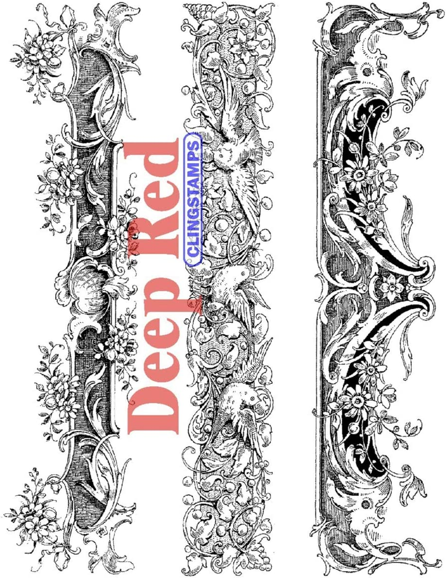Deep Red Stamps Ornate Mantels Rubber Stamp Set