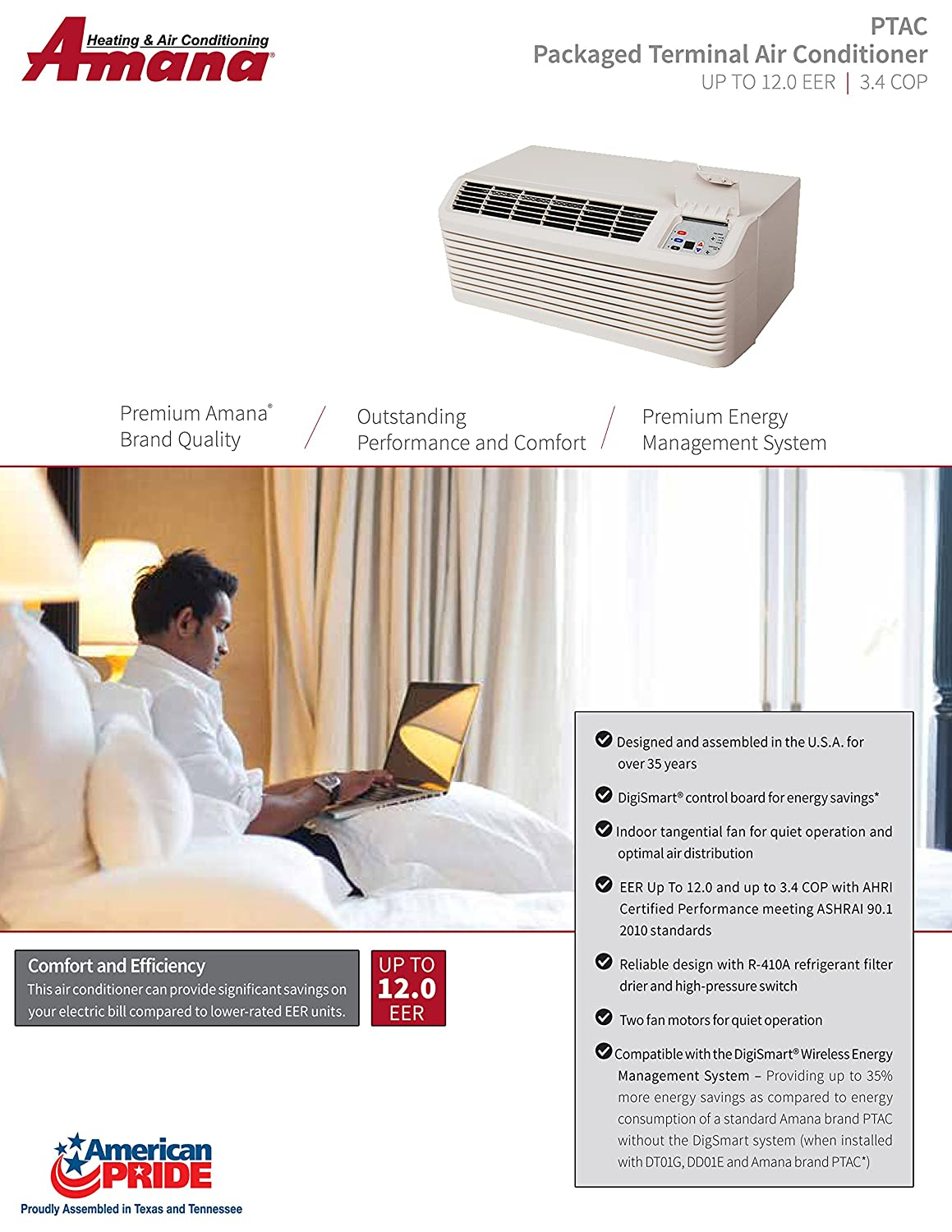 Amana Ptac 15000 Btu Heat Pump Unit 35kw Back Up Air Conditioning Circuit Board Cost Conditioner Heater Pth153g35axxx Home Kitchen