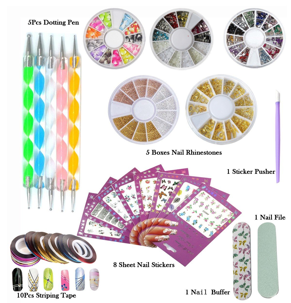 DIY Glitter Nail Rhinestones Decorations Dotting Tool Water Transfer Sticker Decal Stiping Line Beauty Accessories Nail Art Set Kit (SET35B) Addfavor