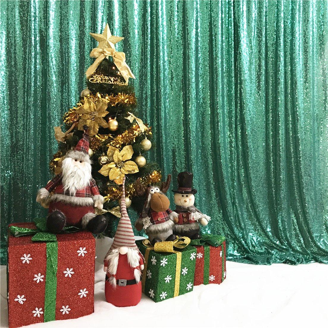 TRLYC 20フィート x 10フィート グリーンスパンコール背景幕、スパンコールフォトブース背景幕 輝く背景幕 ウェディングパーティー クリスマスデコレーション   B07LBK35HY