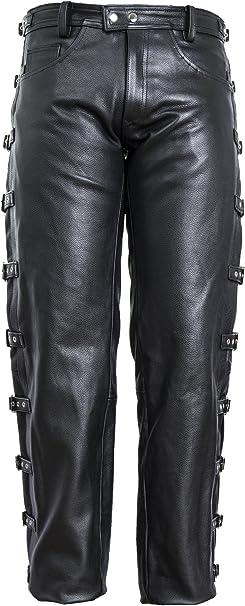 Wm Fashion Lederjeans Lederhose Bikerjeans Rockerjeans Motorradhose Mit Seitlich Schnallen Schwarz S Bekleidung
