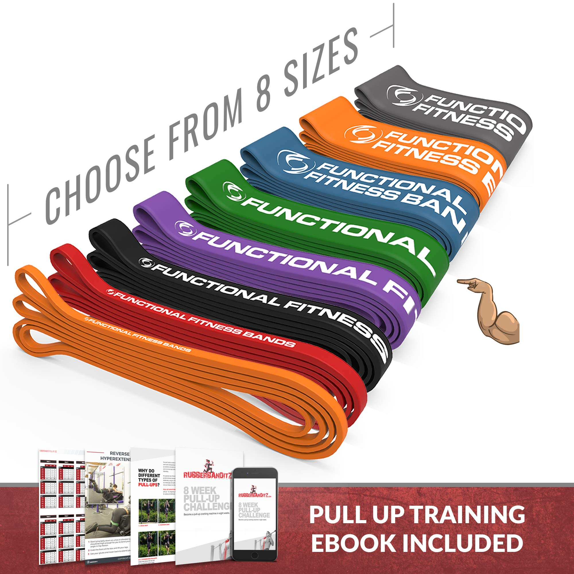 Pull Up Assistance Resistance Exercise Bands - by Functional Fitness | Loop Workout Bands for Stretching, Powerlifting