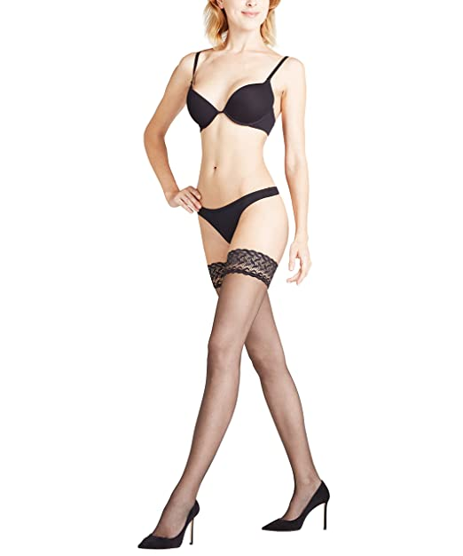 6890dd84f Falke Shelina 12 Lace Top Hold Ups at Amazon Women s Clothing store