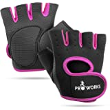 Proworks Women's Padded Grip Fingerless Gym Gloves for Weight Lifting, Cross Training, Exercise Bikes & More – Black with Pink Trim (Medium)