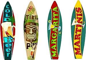 "Tiki Bar Drinks Metal Surfboard Sign 17/"" x 4.5/"" ↔ Beach Pool Pub Bar Wall Decor"