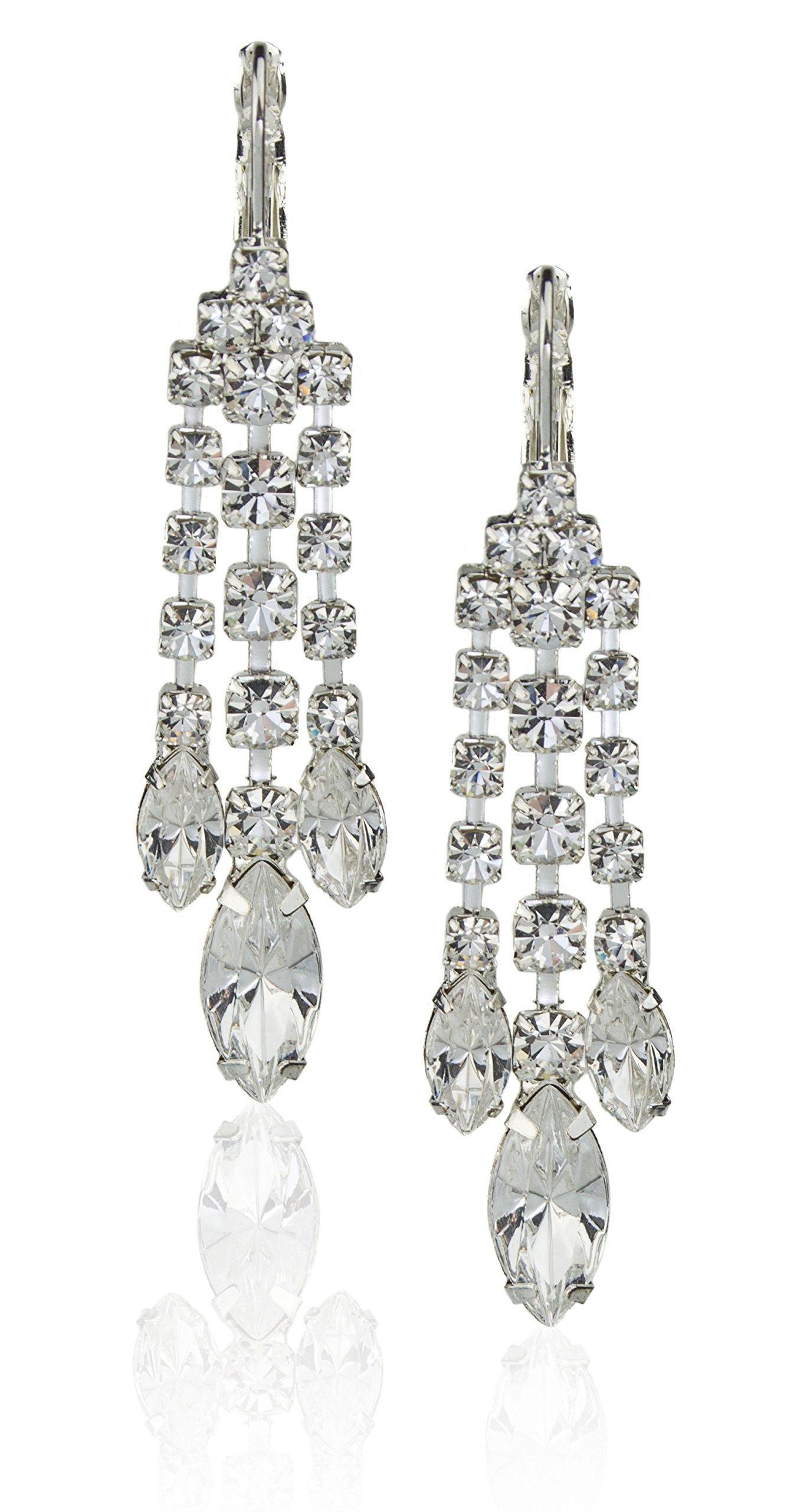 Zoe & Ella Crystal Rhinestone Silver Plated 3 Row Chandelier Earrings with Latch Back