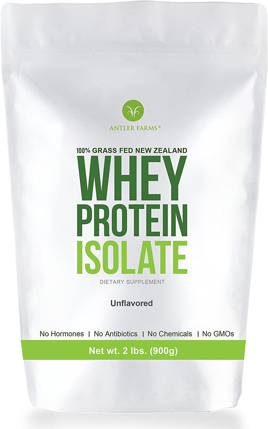 Antler Farms - 100% Grass Fed New Zealand Whey Protein Isolate, Pure, Clean, Unflavored, 30 Servings, 2 lbs - Cold Processed, Rapidly Absorbed, Keto Friendly, Pure and Clean rBGH Free, No Sugar