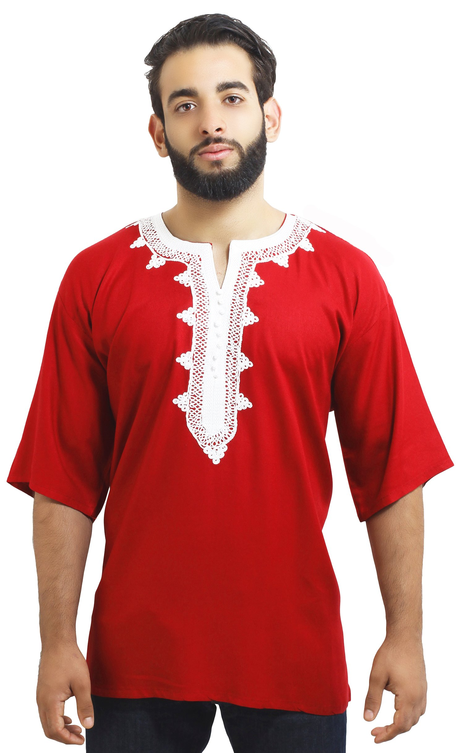 Moroccan Men Tunic Caftan Breathable Fiber Cotton Handmade Embroidery Ethnic Red