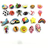 Efivs Arts 20+pcs Different Shape Shoes Charms Fits for Croc Shoes & Wristband Bracelet Party Gifts