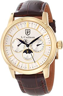 S. Coifman Mens SC0212 Silver Dial Black Leather Strap Watch
