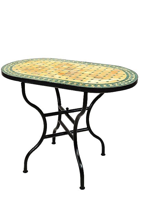 Originale Mosaico Marocchino Tavolo Da Giardino 100 X 60 Cm Grande