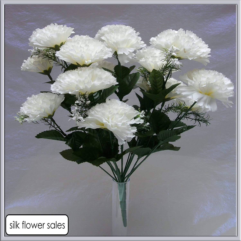 18 head white carnation artificial flower bush weddinggravevase 18 head white carnation artificial flower bush weddinggravevase amazon kitchen home mightylinksfo