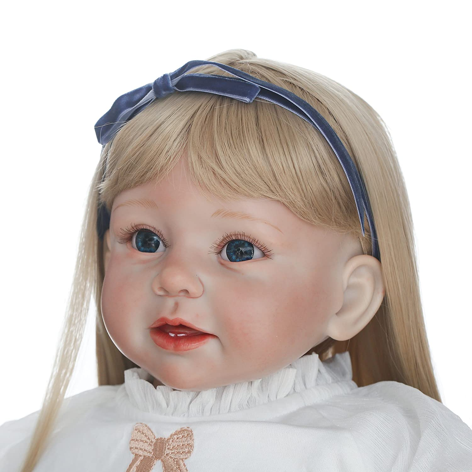 Realistic Reborn Toddler Doll Girl 28 Inch Lifelike Toddlers Vinyl Silicone Dolls Golden Long Hair