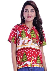 Virgin Crafts Womens Hawaiian Christmas Shirts Button Down Ladies Blouse Santa Bear
