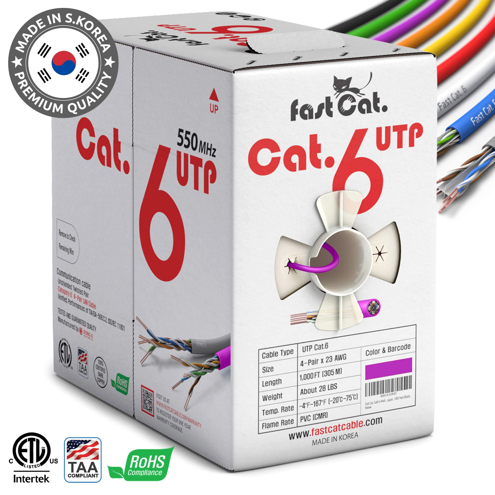 fastCat. Cat6 Ethernet Cable 1000ft - Insulated Bare Copper Wire Internet Cable with Noise Reducing Cross Separator - 550MHZ / 10 Gigabit Speed UTP LAN Cable 1000 ft - CMR (Purple) by fastCat.
