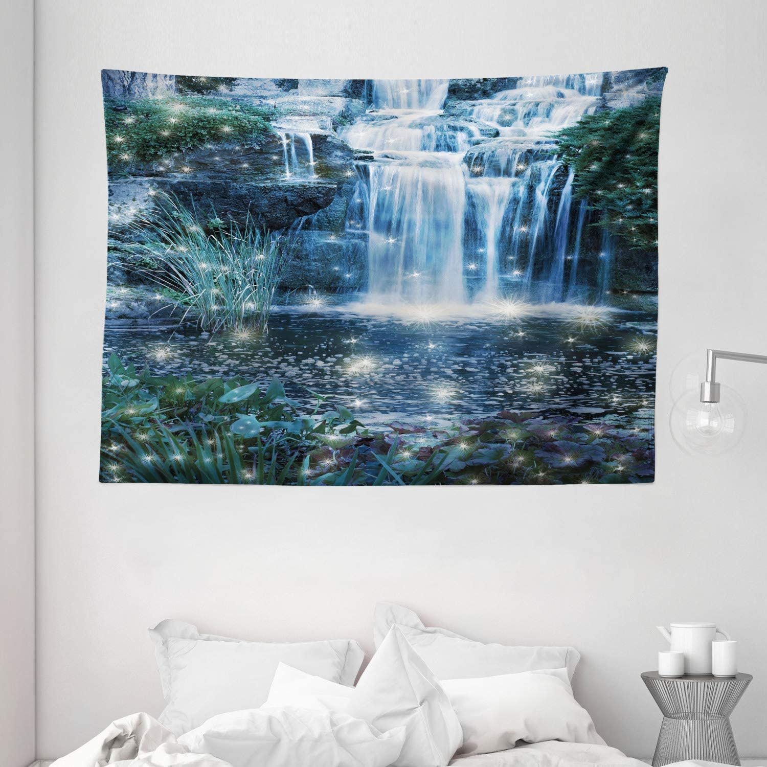 Amazon Com Ambesonne Magic Tapestry Fairy And Cascade At The Night On The Water Fresh Landscape Image Print Wide Wall Hanging For Bedroom Living Room Dorm 80 X 60 Grey Green Home