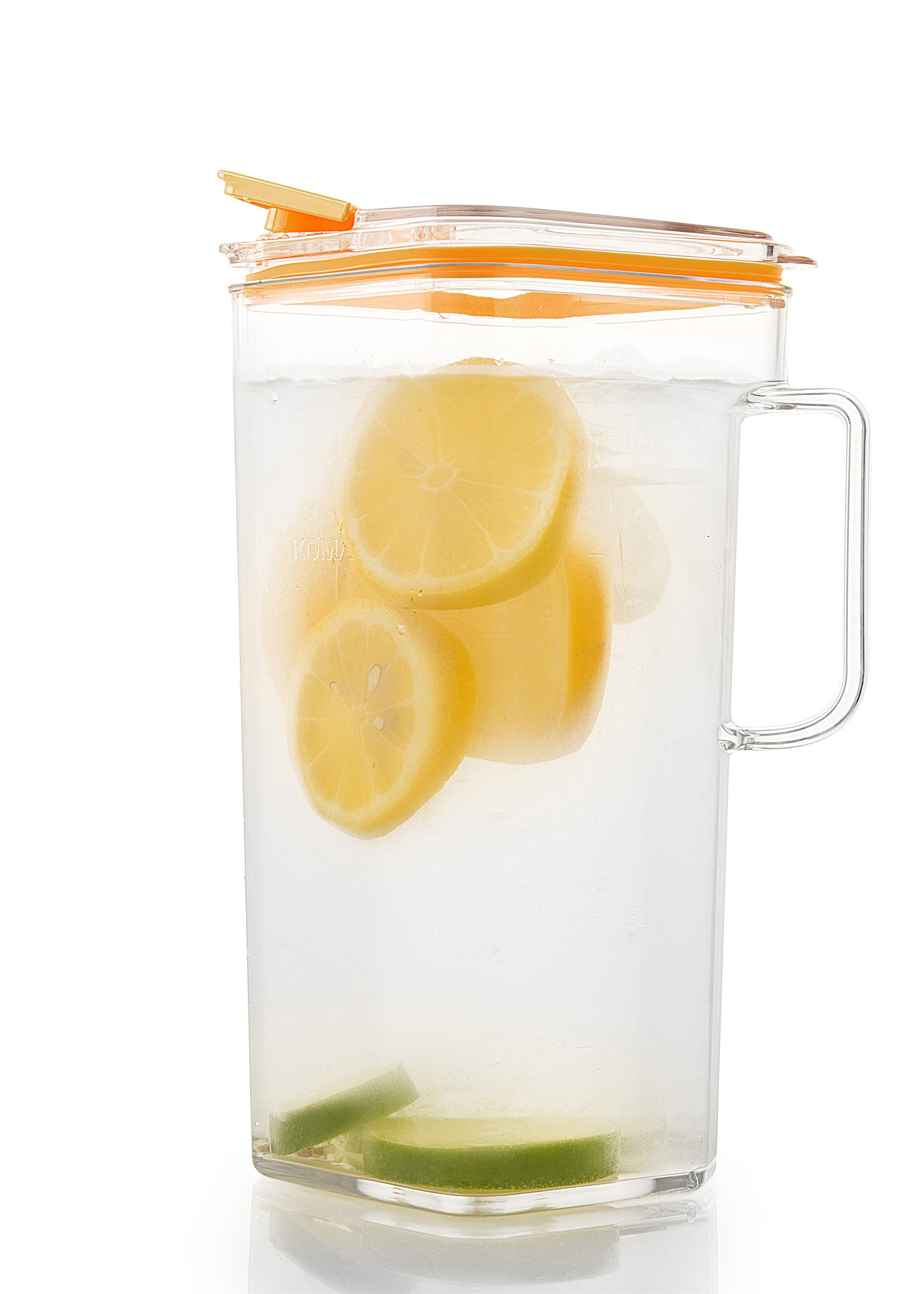 Komax Tritan Clear Large (2 quart) Pitcher With Orange Lid BPA-Free - Great for Iced tea & Water by Komax (Image #2)