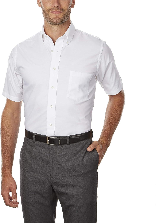 Van Heusen Men's Dress Shirts Short Sleeve Oxford Solid at  Men's Clothing store