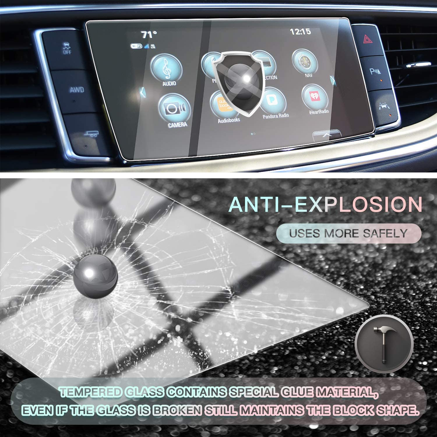 CDEFG Car Screen Protector Center Control Navigation Touch Screen Protector for 2018 2019 Buick Enclave 8 Inch Tempered Glass High Clarity Scratch Resistance