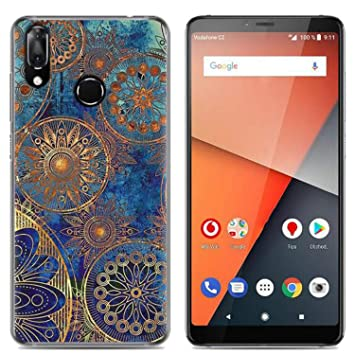 buy online 59d49 0d9e5 Yrlehoo For Vodafone Smart X9, Soft Silicone Case for Vodafone Smart X9  Case Cover Etui Protect Backcase Protection, Blue flowers