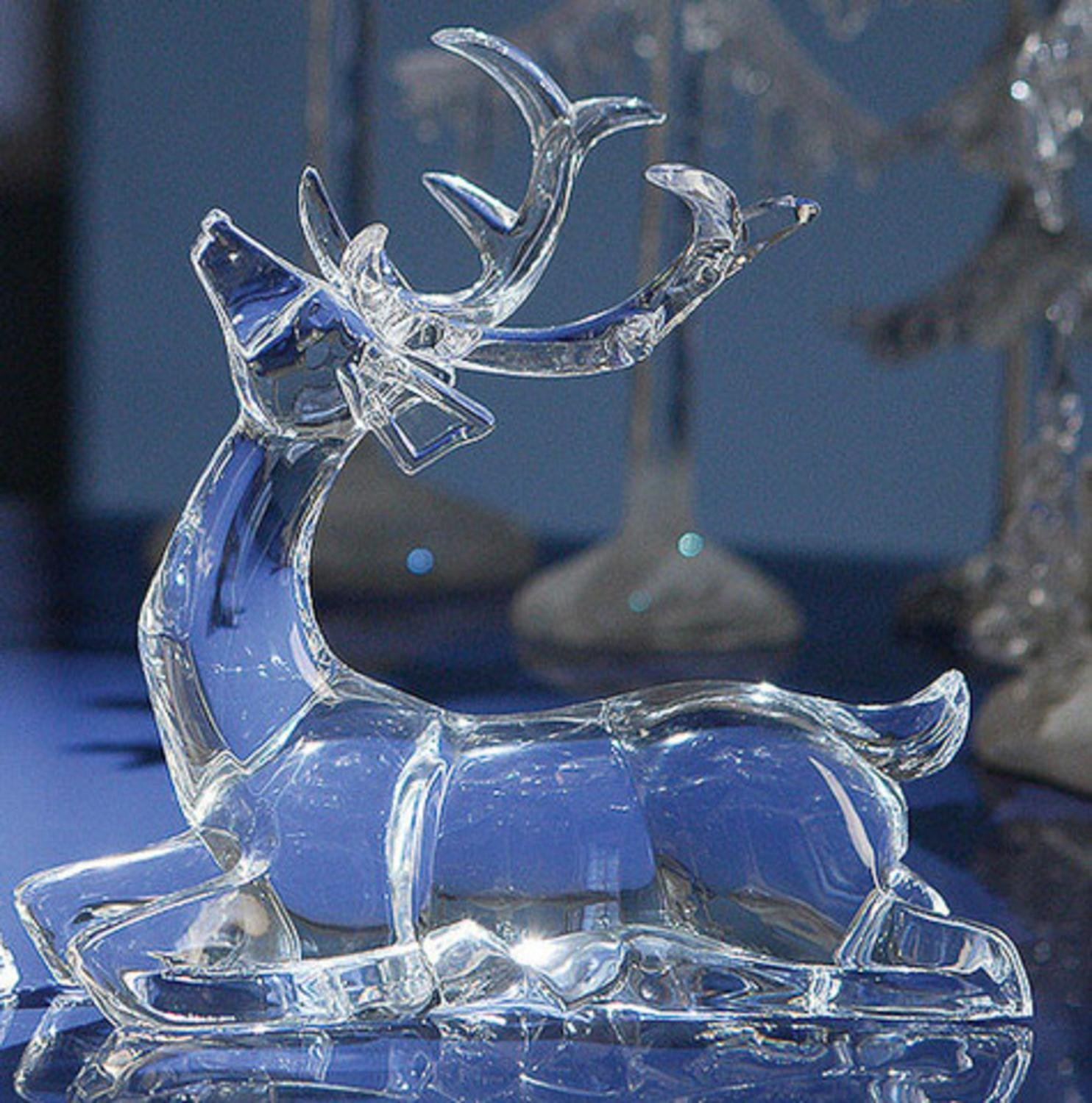 Icy Clear Acrylic Crystal Deer Sitting Decorative Figurines Set of 4 - http://christmastablescapedecor.com/